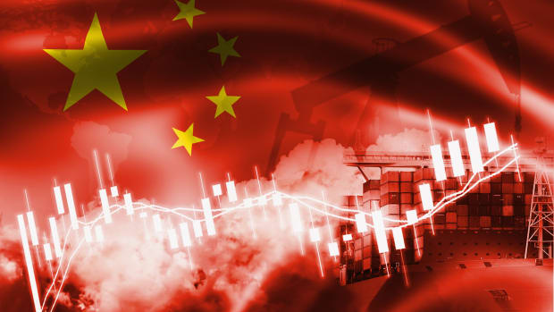Transparent Chinese flag w containers-iStock-1160497333