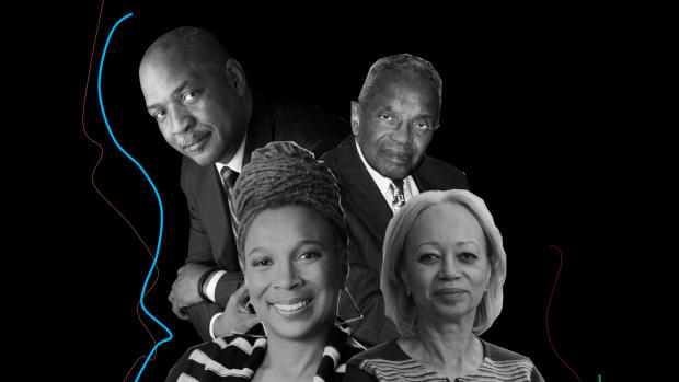 Clockwise from top left: Charles Ogletree, Derrick Bell, Patricia Williams, Kimberlé Crenshaw.