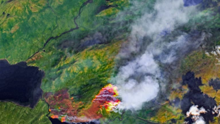 Huge swathes of the Arctic on fire