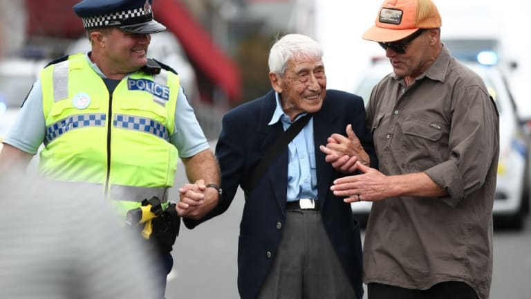 95-year-old man catches four buses to join march against racism