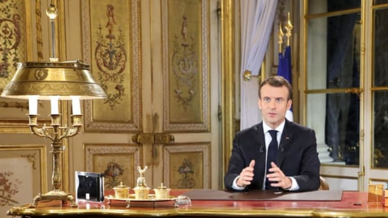 Emmanuel Macron Speaks To Yellow Vest Protestors From Gold Gilded Room