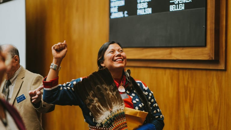 Ruth Buffalo Wears Traditional Native American Dress For Historical Swearing in