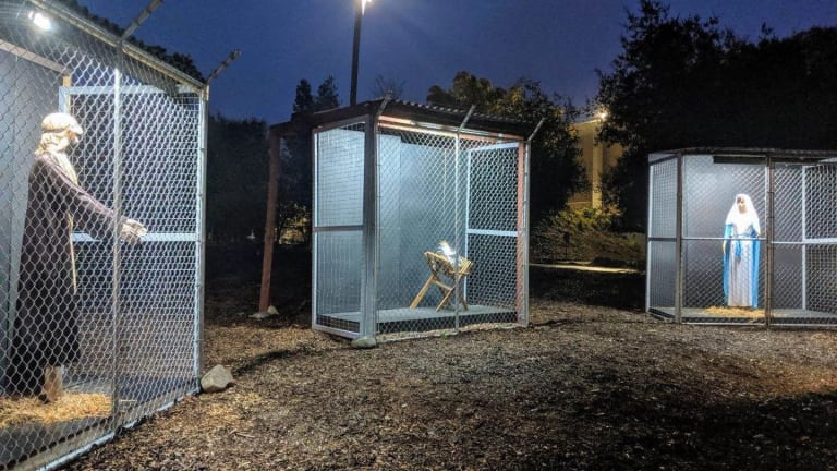 Church nativity shows Jesus, Mary and Joseph in cages, separated at the border