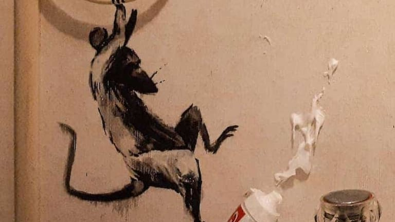 How Is Banksy Spending Quarantine? By Turning His Bathroom Into a Work of Art