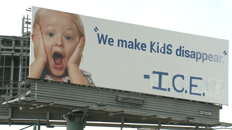 Activist artists alter billboard near San Francisco to deliver anti-ICE message