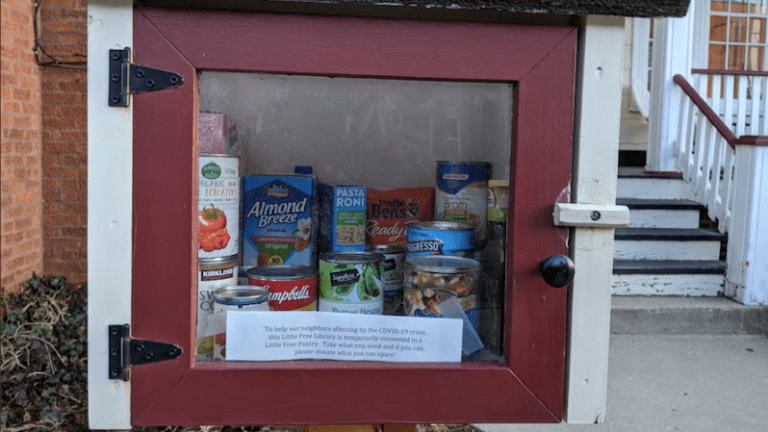 Big-hearted strangers turn Little Free Libraries into Little Free Pantries.