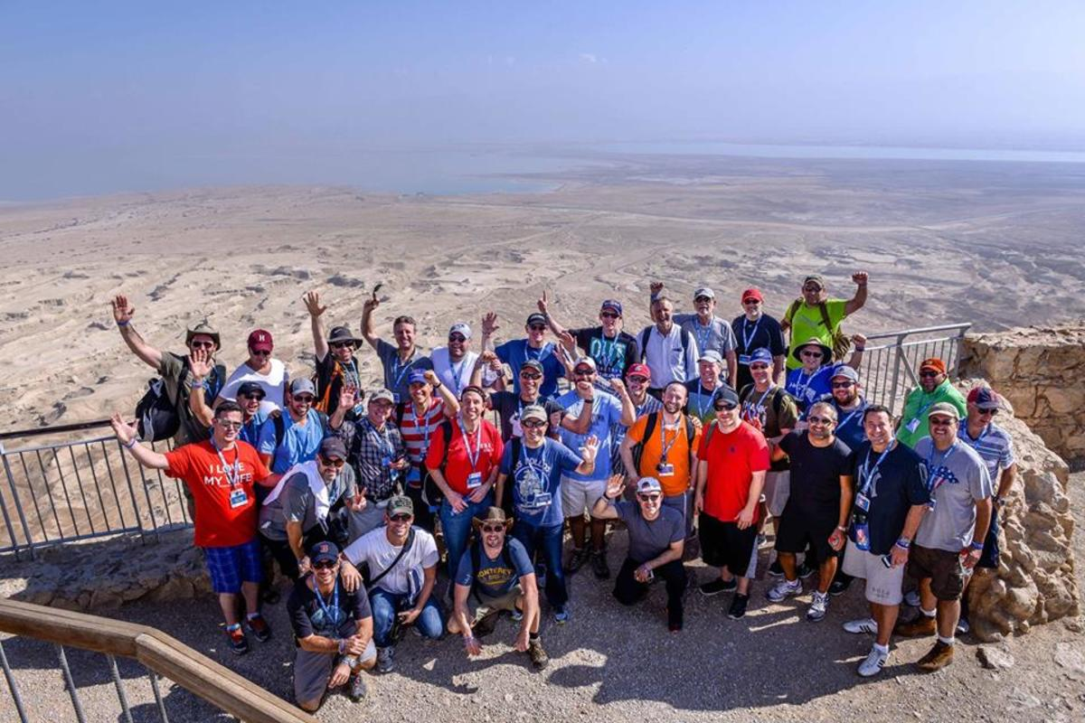 Our group atop Masada. Dead Sea and Jordan in background