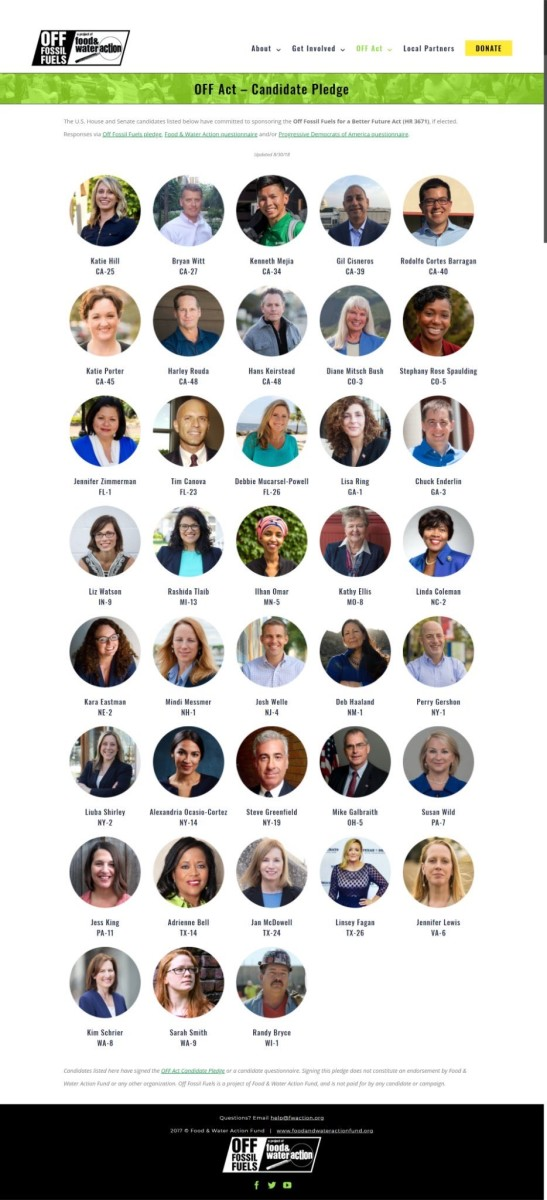 AOC joins some recognizable faces like Tim Canova, Kenneth Mejia, Sarah Smith, and Rashida Tlaib in pledging to pass the Off Fossil Fuels Act if elected to Congress.