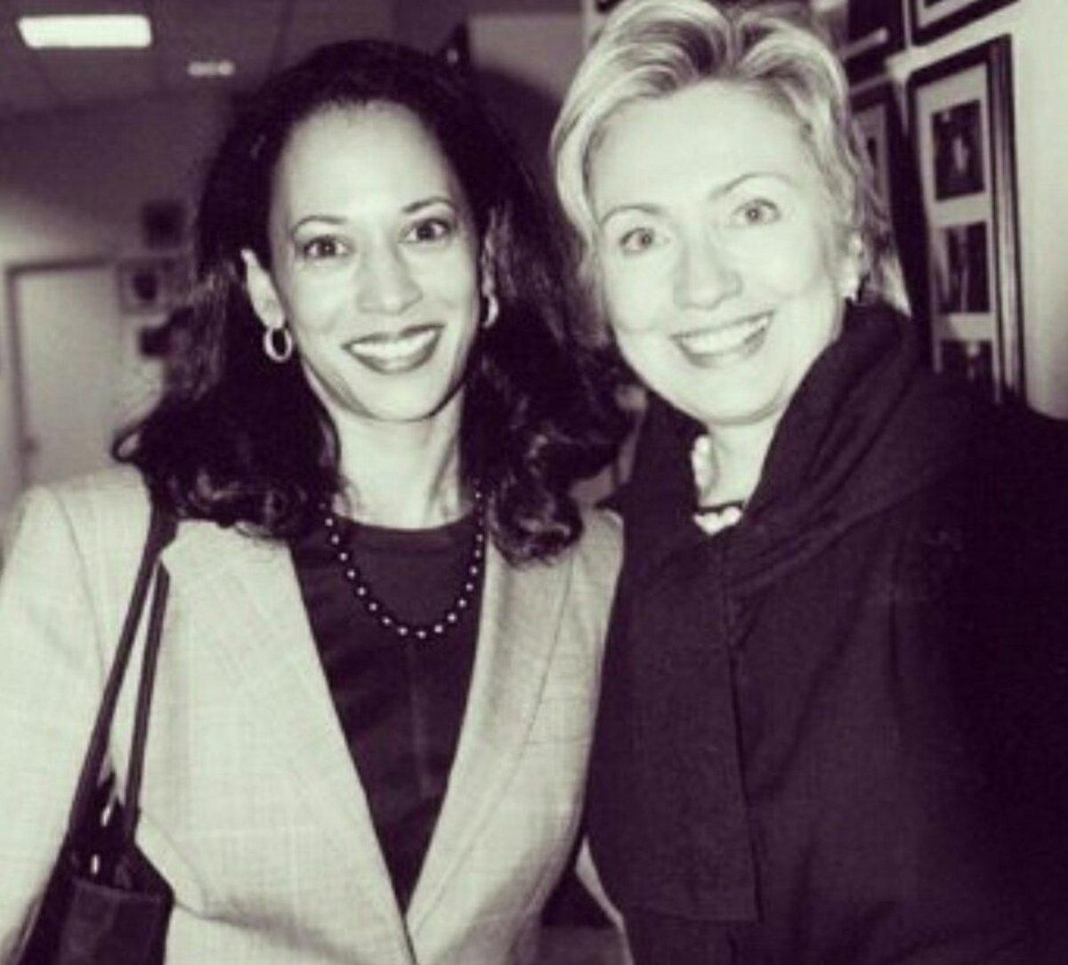 Hillary Clinton with a young Kamala Harris